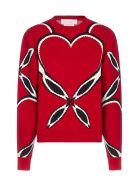 Alexander McQueen Heart-motif Intarsia Viscose-knit Sweater - Rosso