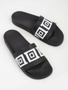 Versace Collection Greek Key Pool Sliders - Black