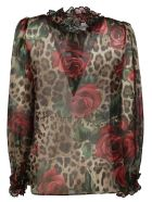 Dolce & Gabbana Rose Print Blouse - leopard print