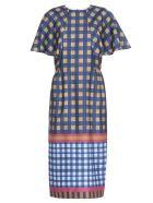 Stella Jean Check Patterned Dress - BLUE/YELL PANEL
