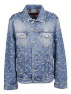 HERON PRESTON Printed Denim Jacket - Light Blue