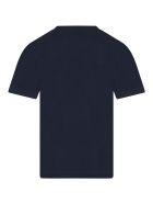 Hugo Boss Blue T-shirt For Boy With Logos - Blue