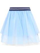 Simonetta Light Blue Skirt For Girl - Light Blue