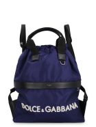 Dolce & Gabbana Nylon Backpack With Leather Details - blue