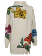 MSGM High-neck Floral Embroidered Sweater - Latte