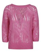 Blumarine Perforated Woven Sweater - Fuxia