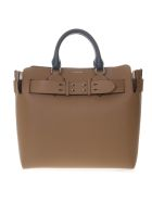 Burberry Camel & White Color Block Leather Tote - Camel/white