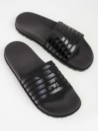 Emporio Armani Ribbed Logo Sliders - Black