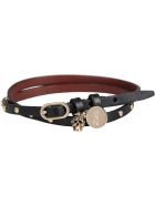 Alexander McQueen Leather Bracelet With Medallion And Skull - black