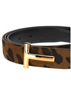 Tom Ford Tom Ford T Buckle Belt - LEOPARD + BLACK