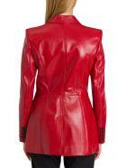 Alexander McQueen Leather Pea-coat - Rosso