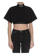 HERON PRESTON Crop Turtleneck T-shirt - Black