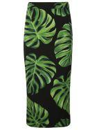 Dolce & Gabbana Leafy Print Skirt - Black/Green