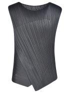 Pleats Please Issey Miyake Pleated Diagonal Top - Black