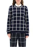 Gabriela Hearst Checkered Crew Neck Sweater - NAVY IVORY WINDOWPANE (Blue)