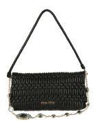 Miu Miu Crystal Embellished Shoulder Bag - Black