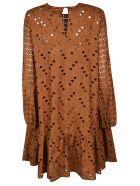 Rochas Perforated Midi Dress - Rust