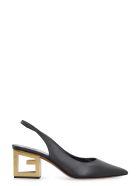 Givenchy Triangle Leather Slingback Pumps - black