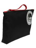 Alexander McQueen Skull Badge Printed Clutch - Black/white/lover red