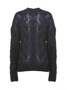 Prada Linea Rossa Cable Open Knit Jumper - Blu scuro