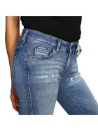Diesel Jeans Slandy Low Diesel Super Skinny Stretch Used Jeans With 5 Pockets And Breaks - stone washed