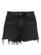 T by Alexander Wang Frayed Denim Shorts - AGED BLACK