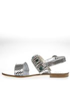 Emanuela Caruso Silver Laminate Scaled Leather Sandal - Silver