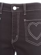 Love Moschino Jeans W/heart On Pockets - Black