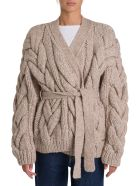 Dsquared2 Maxi Cable Stitching Cardigan With Belt - Beige