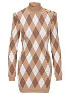 Balmain Diamond Pattern Dress - BEIGE MULTI