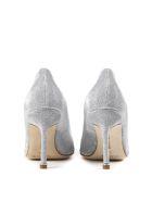 Manolo Blahnik Silver Hangisi Glitter Textile Pumps - Silver