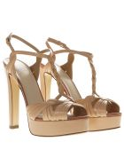 Francesco Russo Nude Metal Strappy Sandals - Nude