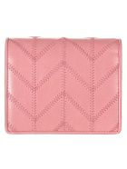 Miu Miu Shine Patched Snap Button Wallet - Rosa