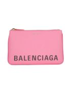 Balenciaga Logo Zipped Pouch - Rose Bubble Noir