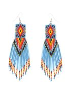Jessie Western Zuni Chandelier Earrings - MULTICOLOR LIGHT BLUE BLACK (Light blue)