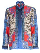 Versace Collection Shirt L/s Silk Western Printing Animalier - Blue Denim Printing