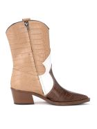 Via Roma 15 Texan Ankle Boot In Brown And White Crocodile Print Leather - MULTICOLOR