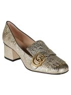 Gucci Double G Tasseled Metallic Pumps - platinum