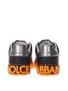 Dolce & Gabbana Portofino Melt Black & Orange Leather Sneakers - Black/orange