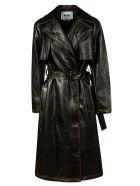 MSGM Belted Waist Mid-length Coat - Black