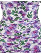 Giuseppe di Morabito Floral White Short Dress With Ruches - Flower multi