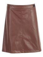 Be Blumarine Skirt A Line Short Eco Leather - Cognac