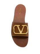 Valentino Garavani V-logo Flat Sandals - Cr Cuoio