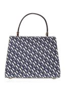 Valextra Blue And Ivory Iside Graphic Leather Printed Bag - Ivory/blue