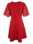 Valentino Lace Sleeve Dress - RED