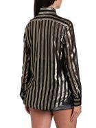 Saint Laurent Camicia A Maniche Lunghe A Righe Dorate Lurex - Nero
