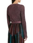 M Missoni Lurex Knit Shoulder Shrug With Ribbon - Viola