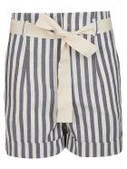 SEMICOUTURE Striped Shorts - Bianco/blu
