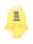 Moschino Yellow Swimsuit For Babygirl With Teddy Bear - Yellow
