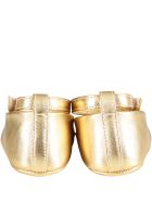 Dolce & Gabbana Gold Ballerina Shoes For Babygirl With Metallic Logo - Gold
